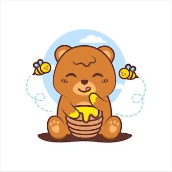 귀여운 갈색 곰 앉아서 꿀을 즐기는