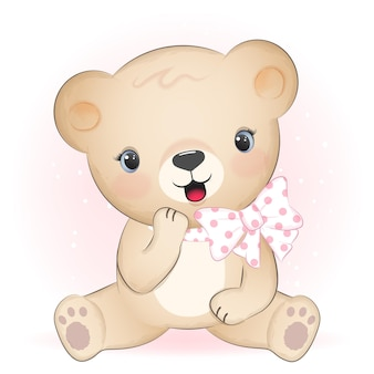 Cute brown bear smiling with happiness cartoon  illustration