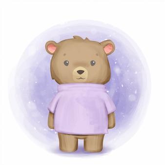 스웨터를 입고 귀여운 갈색 곰