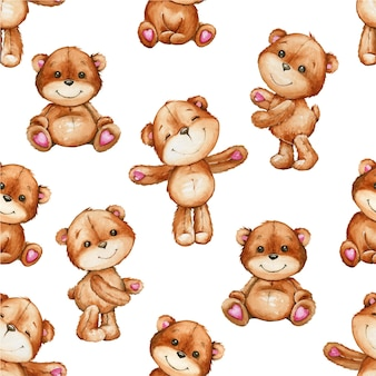 Cute brown bears, in different poses. watercolor seamless pattern, cartoon style.