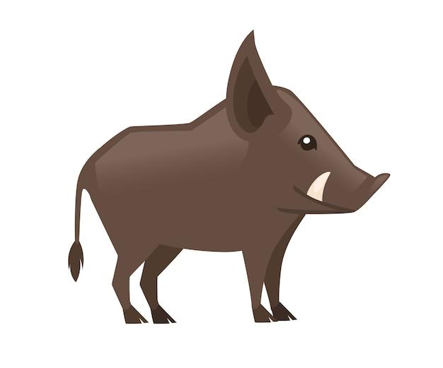 Симпатичный коричневый кабан warthog персонаж