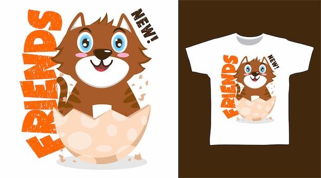 かわいい茶色の猫のtシャツのデザイン