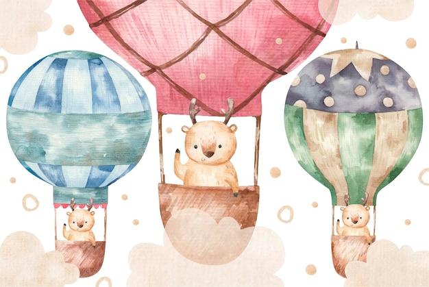 かわいい茶色の鹿は色の風船で飛ぶ、白い背景の上のかわいい赤ちゃんの水彩イラスト