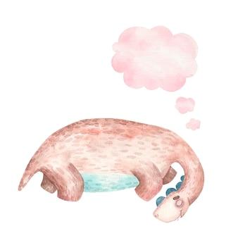 Милый коричневый динозавр спит с длинной шеей и значком мысли, облаком, детской акварельной иллюстрацией