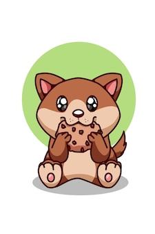 Милая коричневая собака ест печенье, бисквит