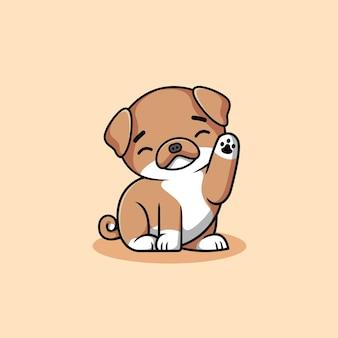 만화 삽화를 반갑게 맞이하는 귀여운 갈색 개
