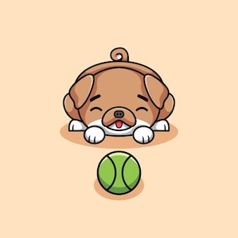 공 만화 아이콘 그림을 재생하는 행복 귀여운 갈색 강아지