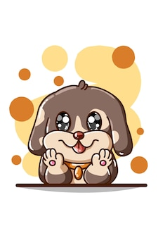 Милая коричневая иллюстрация собаки