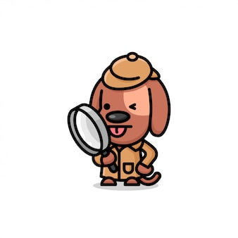 섬세한 의상을 입은 귀여운 갈색 강아지