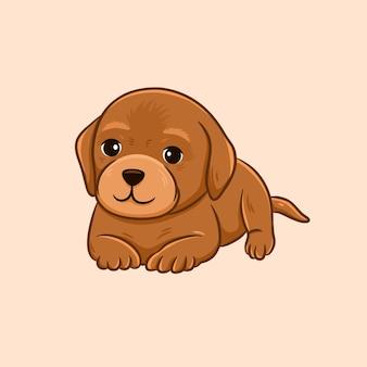 かわいい茶色のラブラドールレトリバーの子犬の漫画