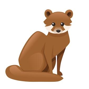 귀여운 갈색 담비 만화 디자인