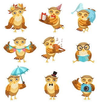 Cute brown owl everyday activities icon set