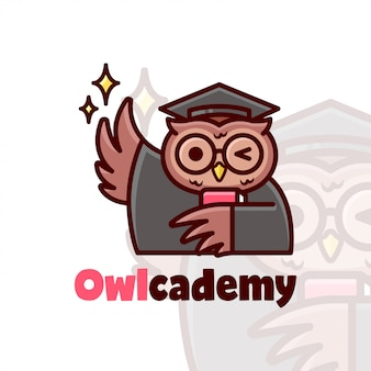 Cute brown owl wearing graduation changes and bring a red book
