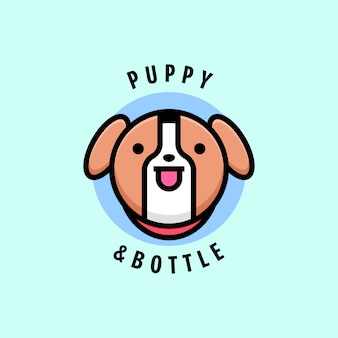 Симпатичный коричневый щенок и логотип на бутылке