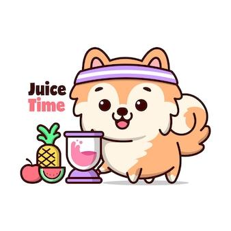 귀여운 갈색 강아지가 과일 주스 만화를 만들고 있습니다.