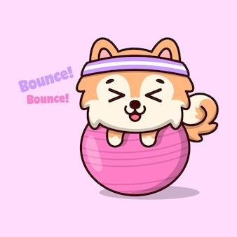 분홍색 체육관 공을 들고 행복한 만화를 느끼는 귀여운 갈색 강아지