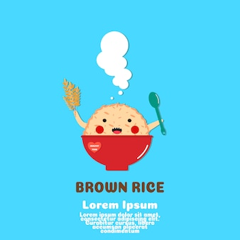 Cute brown rice cartoon vector.