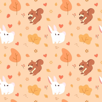 Cute brown squirrel and white bunny seamless pattern