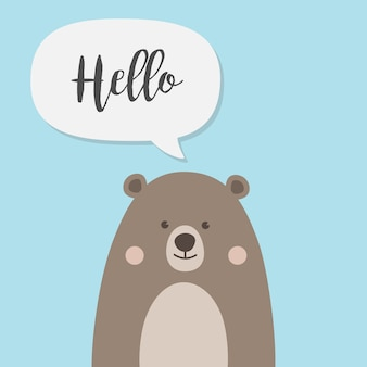 A cute brown teddy bear with hello and speech chat bubble