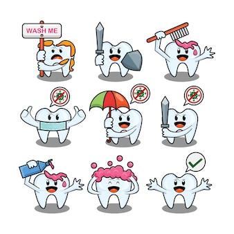 Симпатичные чистки зубов набор векторных символов дизайн