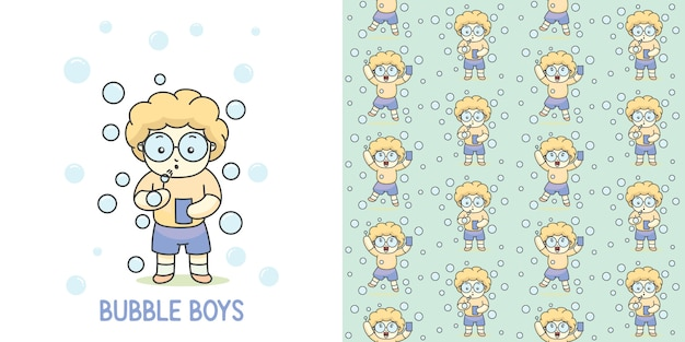 Cute bubble boy with glasses  group with seamless pattern.