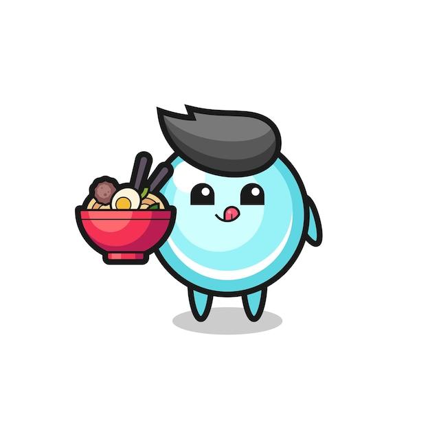 麺を食べるかわいいバブルキャラクター、tシャツ、ステッカー、ロゴ要素のかわいいスタイルのデザイン