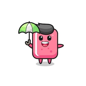 우산을 들고 있는 귀여운 풍선껌 그림, 티셔츠, 스티커, 로고 요소를 위한 귀여운 스타일 디자인