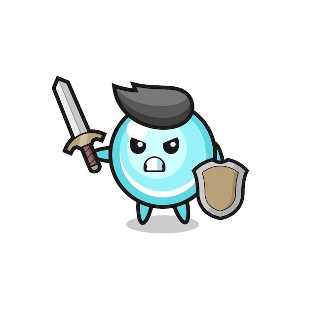 剣と盾と戦うかわいいバブル兵士、tシャツ、ステッカー、ロゴ要素のかわいいスタイルのデザイン