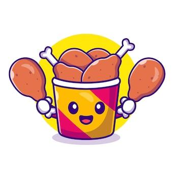 Cute bucket fried chicken cartoon icon illustration.