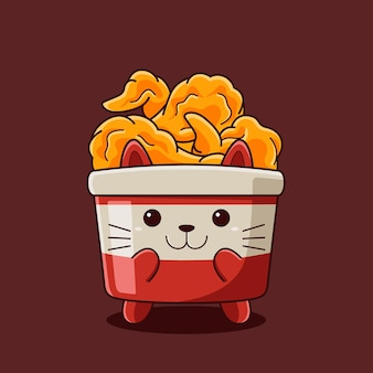 Cute bucket fried chicken cat illustration with flat cartoon style.