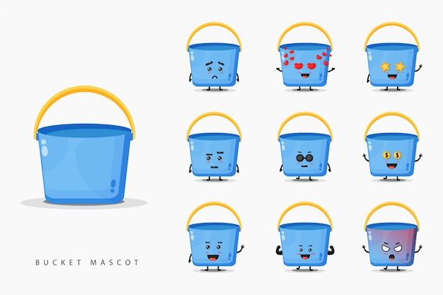 Cute bucket mascot design set