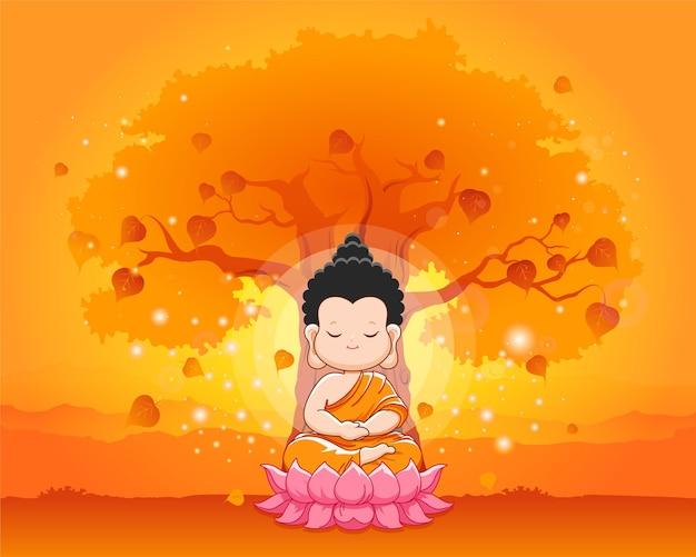 蓮の上で瞑想しているかわいい仏陀。幸せなベサックの日、万仏節または仏陀プルニマ