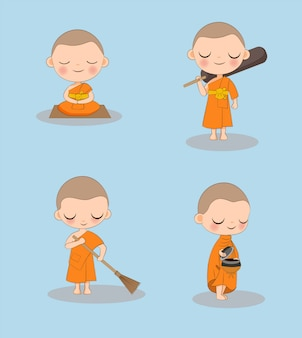 Cute buddhist monk with a variety activities