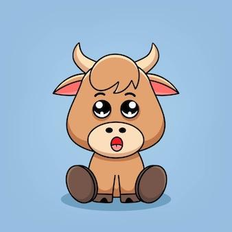 Симпатичные иллюстрации шаржа буйвола