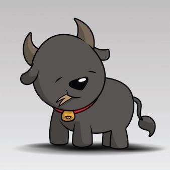 Cute buffalo cartoon posing for you design
