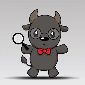 Cute buffalo cartoon posing