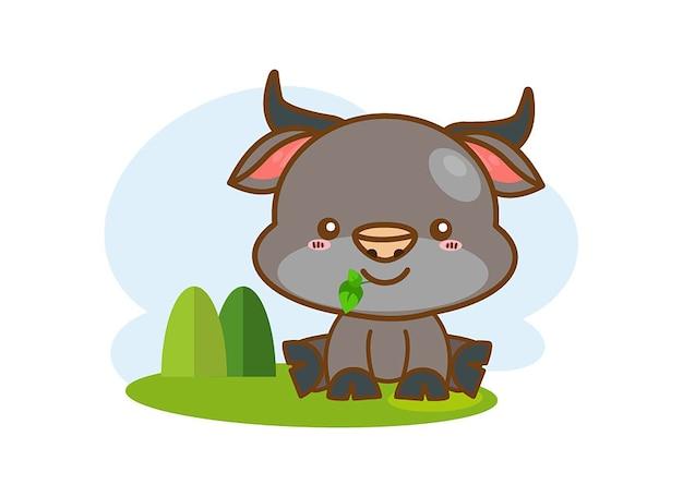 Cute buffalo cartoon on a white background
