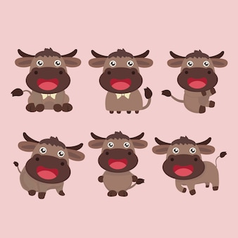 Cute buffalo cartoon with bison in six different views.