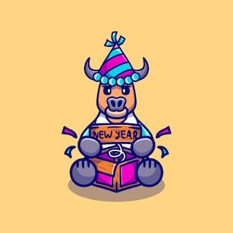 Милый буйвол празднует новый год с коробкой-сюрпризом