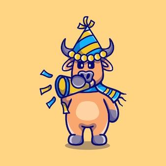 Милый буйвол встречает новый год, трубя в трубу