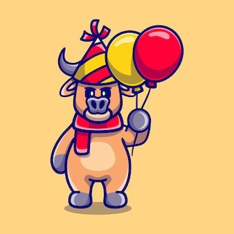 Cute buffalo celebrating happy new year or birthday with balloons