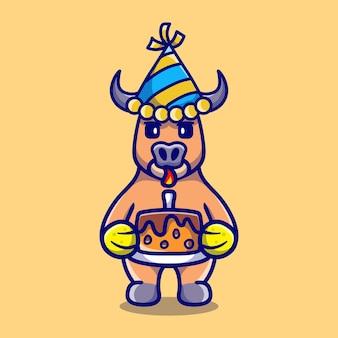 Милый буйвол празднует с новым годом или днем рождения