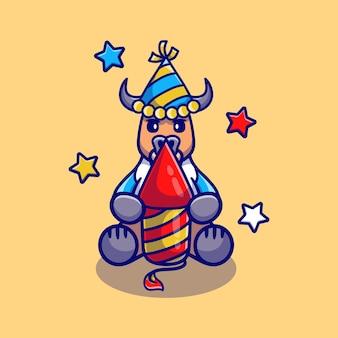 Милый буйвол празднует новый год с ракетой фейерверка