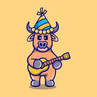 Милый буйвол празднует новый год с гитарой