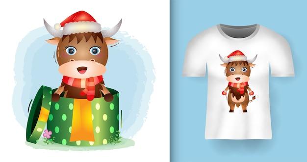 티셔츠 디자인의 선물 상자에 산타 모자와 스카프를 사용하는 귀여운 버팔로 크리스마스 캐릭터