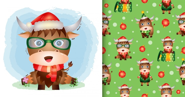 A cute buffalo christmas characters with santa hat and scarf. seamless pattern and illustration designs