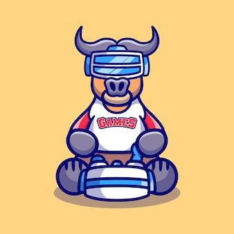 Cute buffalo gamer playing game with virtual reality headset