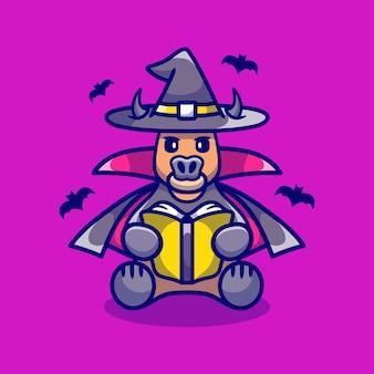 Милая ведьма буйвола на хэллоуин читает книгу