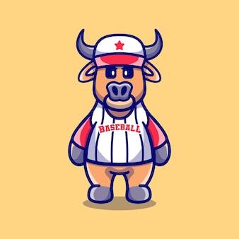 Cute buffalo wearing baseball uniform