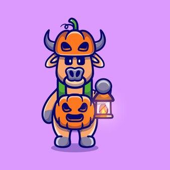Милый буйвол в костюме тыквы на хэллоуин